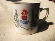 COLLECTABLE GILDED MUG LIVERPOOL ROAD POTTERY 18TH WORLD PLOUGHING CONTEST 1971